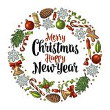 Circle shape set for Merry Christmas. Circle shape set for Merry Christmas and NewYear. Gingerbread, candy, mistletoe, bell, serpentine, rocket, snowflake, pine Stock Photos