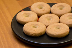 Circle shaped cookies. Some circle shaped cookies on a plate stock image