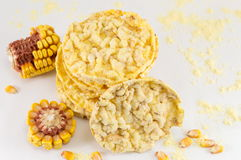 Circle shaped corn snacks Royalty Free Stock Photography
