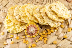 Circle shaped corn snacks Stock Image