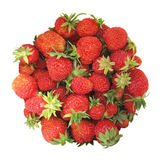 Circle-shaped strawberries isolated on white stock images