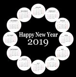 Circle shaped 2019 calendar royalty free stock photography
