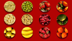 Circle shapes full of various fruity textures Royalty Free Stock Image
