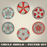 Circle Shield Vector Set Royalty Free Stock Photo