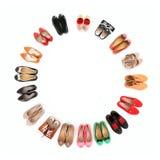 Circle of shoes stock photos
