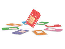 Circle of Sim Cards Illustration, Dual Sized Royalty Free Stock Image