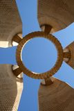 Circle in the sky. Built structure photographed from below against a beautiful blue sky. This is located in Aswan in southern Egypt Stock Photo