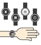 Circle Smartwatch with Icons Stock Photos