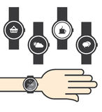 Circle Smartwatch with Icons Royalty Free Stock Photos