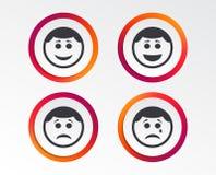 Circle smile face icons. Happy, sad, cry. Circle smile face icons. Happy, sad, cry signs. Happy smiley chat symbol. Sadness depression and crying signs Stock Image
