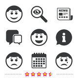 Circle smile face icons. Happy, sad, cry. Circle smile face icons. Happy, sad, cry signs. Happy smiley chat symbol. Sadness depression and crying signs Royalty Free Stock Image