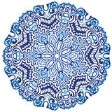 Circle snowflake pattern. In watercolor style Royalty Free Stock Photography