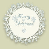Circle of snowflakes with shadow. Winter Christmas and New Year design element. Royalty Free Stock Images