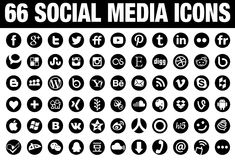 66 Circle Social Media Icons black. 66 simple flat Social Media icons collection, black, the base must have set of icons for webdesign and graphicdesign with all