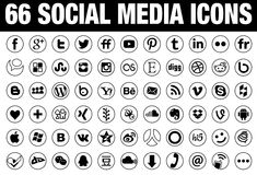 66 circle Social Media Icons black. 66 simple flat round Social Media icons collection, white, the base must have set of icons for webdesign and graphicdesign
