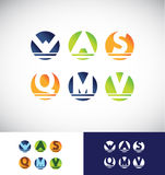 Circle sphere alphabet letter logo icon set Stock Photos