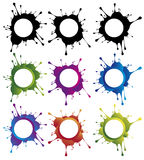 Circle splash banners. Multi colored splattered circle banners with text area Vector Illustration