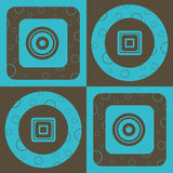 Circle and Square Pattern. A large blue and brown pattern illustration Royalty Free Stock Image