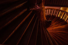The circle stairs. The wood circle stairs down to the floor Royalty Free Stock Photography