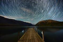 Circle of star, Lake Rotoiti. Star trail in night time from Lake Rotoiti, New Zealand Stock Image
