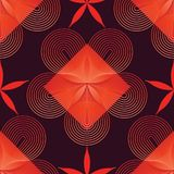 Circle star line flower red color seamless pattern royalty free illustration