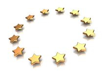 Circle of stars. 3d illustration of group of stars on a white background Vector Illustration