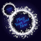Circle of stars. Blue Abstract background. Ring with place for your text. Royalty Free Stock Photo