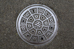 Circle steel manhole cove stock photography