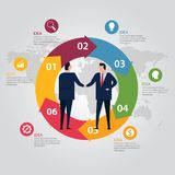 Circle step info-graphic world map color. Business people agreement standing handshake wearing suite formal. Concept vector illustration