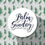 Circle sticker with palm sunday message stock illustration