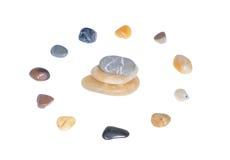 Circle of stones. Isolated on white background Royalty Free Stock Photos