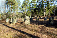 Circle of stones at Hunn up close. Hunn is a sort of prehistoric park near Fredrikstad in Østfold county Stock Images