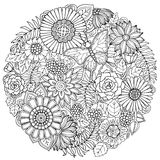 Circle summer doodle flower ornament with butterfly. Royalty Free Stock Images