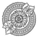 Circle summer doodle flower ornament. Hand drawn art mandala. Stock Photography