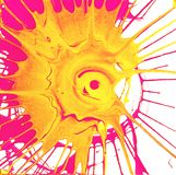 Circle sun rays colored multicolored splashes on a white background stock photo