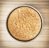 Circle sweet flan case, preparing cake. Close up of circle sweet flan case on the table. Preparing cake. International cuisine. Food theme Stock Photos