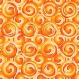 Circle swirl circle layer orange symmetry seamless pattern stock images