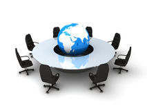 Circle table and earth Royalty Free Stock Photo