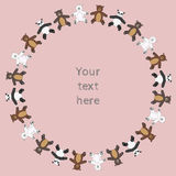 Circle teddy bears toys frame. For your text Royalty Free Stock Image