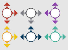 The circle template with arrows. The illustration of blank circle and three arrows Royalty Free Stock Photography