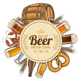 Circle template with beer icons Stock Images
