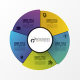 Circle template with 5 steps. Infographic design concept. Vector Stock Image