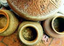 The circle of texture. The Old jars old old floor and textures in songkhla thailand Royalty Free Stock Photography