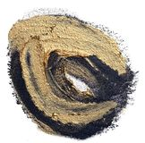 Circle textured hand drawn black and gold oil paint brush stroke. Template for your banner text - circle textured hand drawn black and gold oil paint brush royalty free stock images