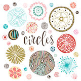 Circle textures set. Hand drawn Isolated decorations. Vector illustration royalty free illustration