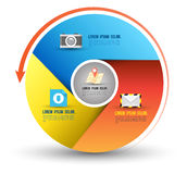 Circle three step with icons royalty free illustration