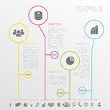 Circle timeline infographics design template with icons. Illustration Stock Images