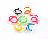 Circle Toy Pliable Rings. A circle of short pliable plastic rings royalty free stock images