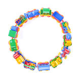Circle of toy train trucks Royalty Free Stock Images