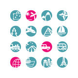 Circle travel icons Stock Images